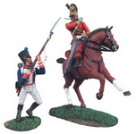 NAPOLEONIC WATERLOO CAMPAIGN, BRITISH 1ST ROYAL DRAGOON CAPTAIL PARRYING WITH FRENCH 105TH LIGNE FUSILIER HAND-TO-HAND SET